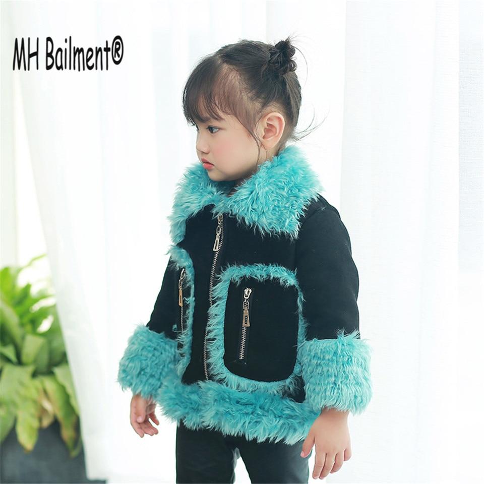 2017 New children Faux Sheep Suede Fur Winter Warm Coat Baby Girls Outwear Imitation Fur Locomotive Fashion Green Coat F#01