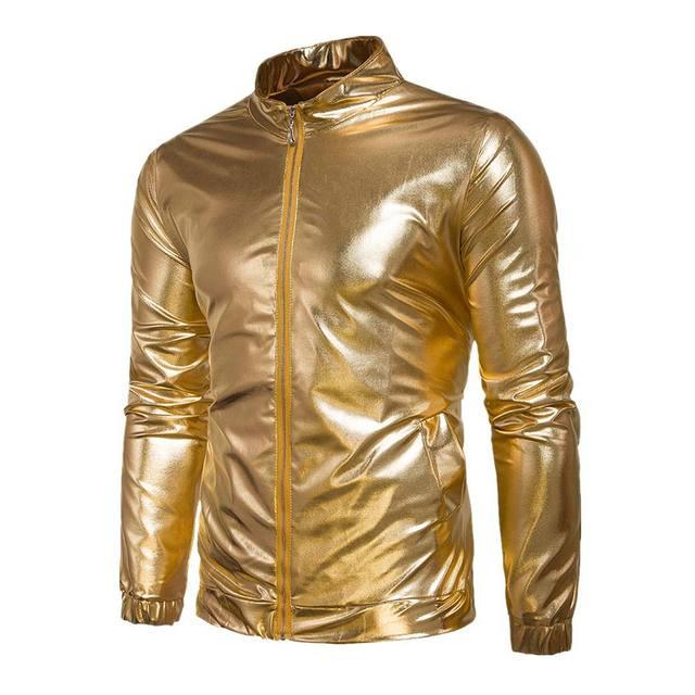 Fashion Men Hip Hop Coated Metallic Night Club Wear Outerwear Coat Shiny Jacket