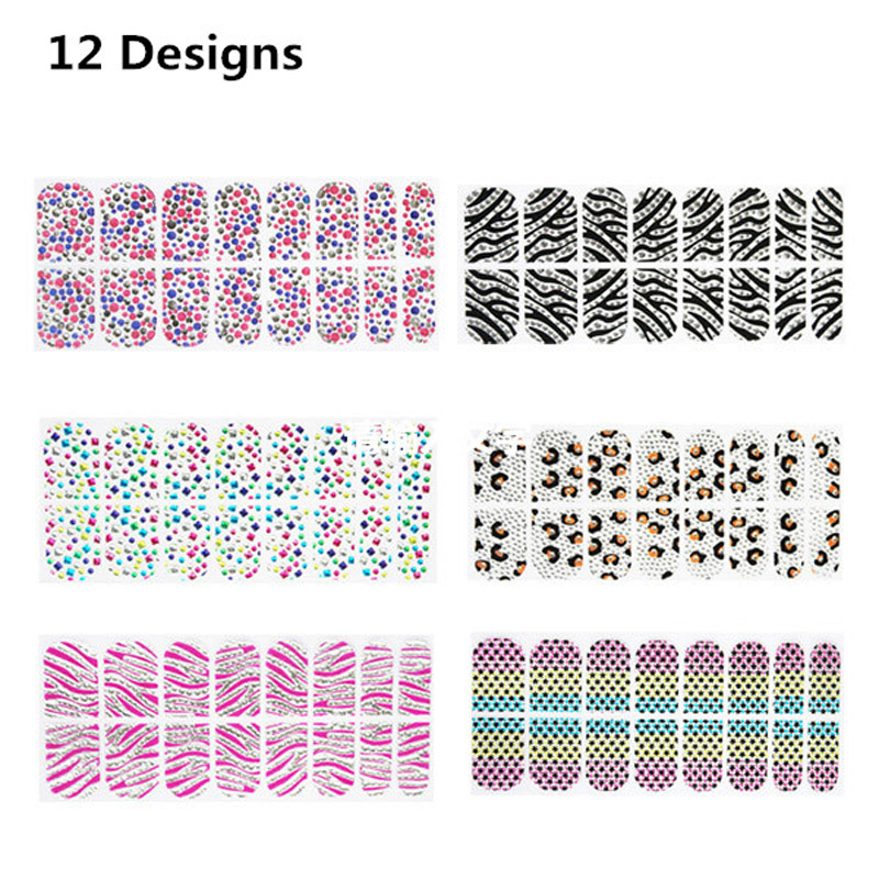 BlueZoo 3D Nail Stickers Full Cover Sticker For Nail Art Beauty Tips Nail Decal Makeup Manicure Accessores 12 Mixed Designs