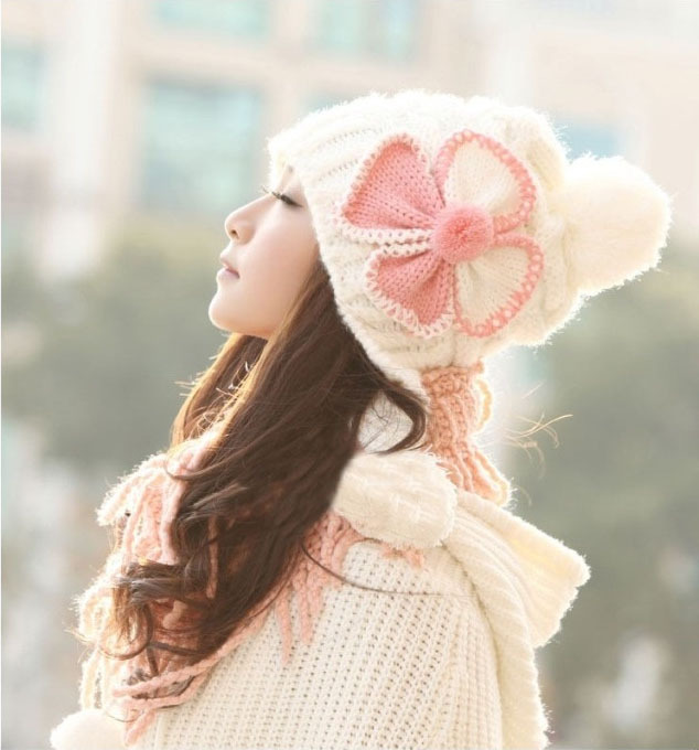 Free Shipping Clover Knitted Women Hat Big Bow Flower Women Winter Cap