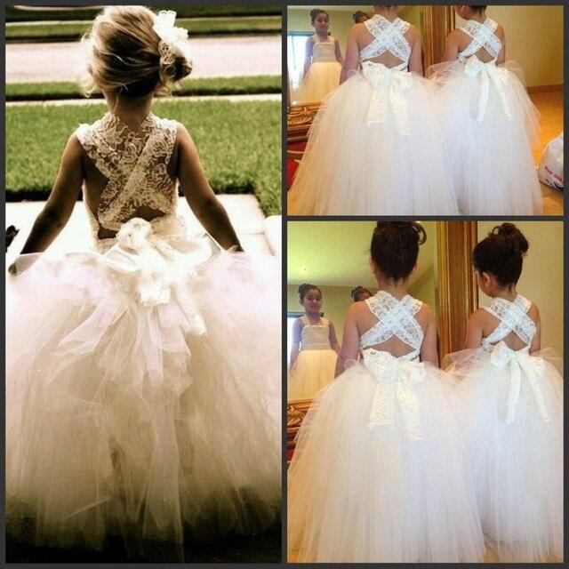 White Ivory Lace Flower Girl Tutu Dresses For Wedding Kids Princess Dress  Backless Tulle Tiered Skirt Custom Made 22f771fff7e4