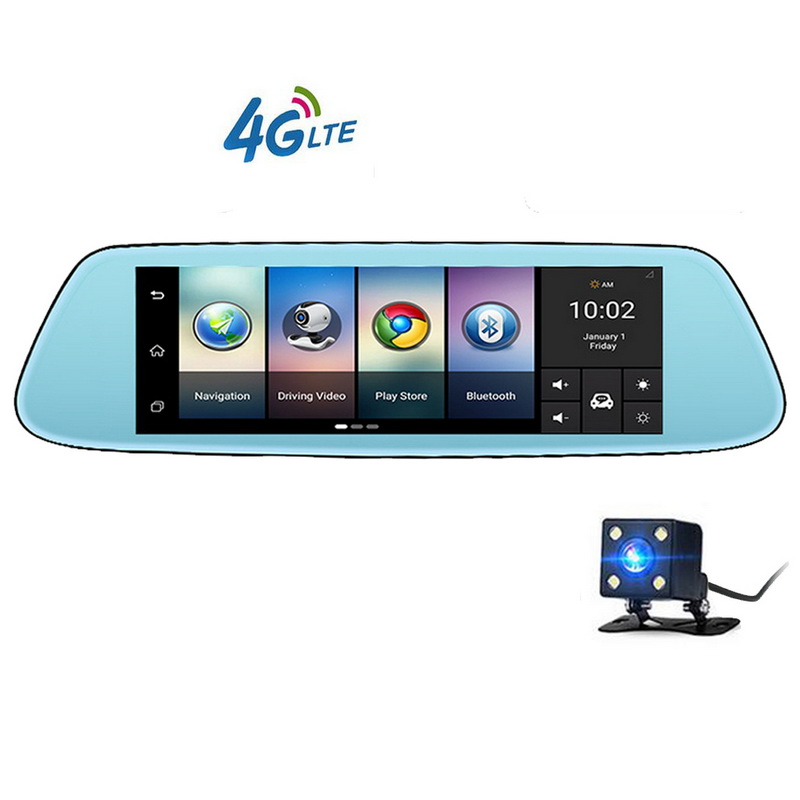 Video Recorder Dash Cam FHD 1080p Newest Mirror GPS Bluetooth WIFI Android 5.1 Dual Lens 4G Touch IPS Car DVR Camera 8 inch