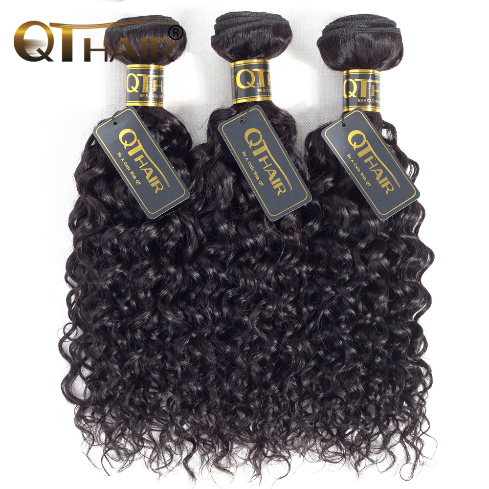QT Malaysian Human Hair Weave Water Wave Hair Bundles Natural Color Remy Hair Extensions 3 Bundle