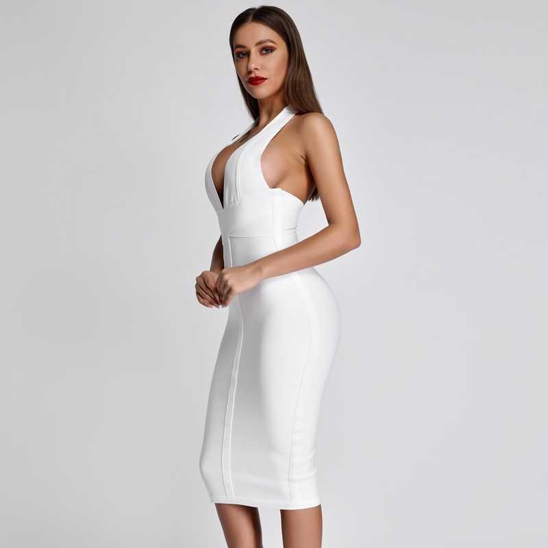 Ocstrade vestidos de vendaje blanco 2019 nuevas llegadas de verano cuello en v Sexy Bodycon vestido de fiesta mujeres Halter vestido de vendaje rayón