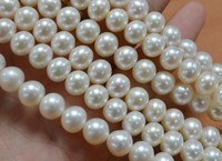 Wholesale 8 9mm REAL Natural Loose Freshwater Pearl Necklace String, Pearl Strand 38cm Long, White Round Shape Pearls