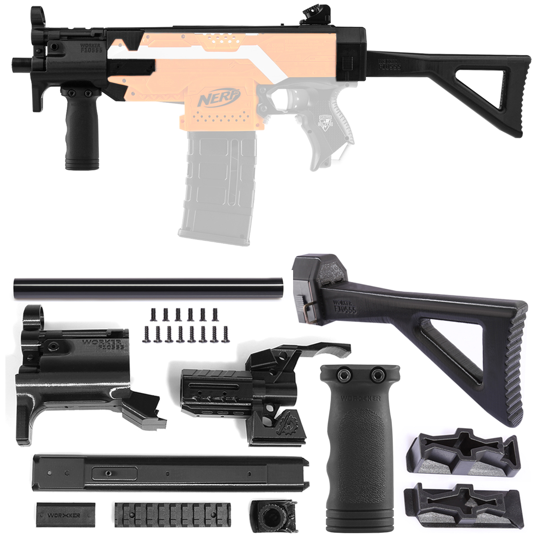 Worker F10555 3D Printing Modularized No.114-K Front Tube + Type-C Shoulder Stock Kit for Nerf Stryfe - Black садовая детская тяпка truper atj kid 10555