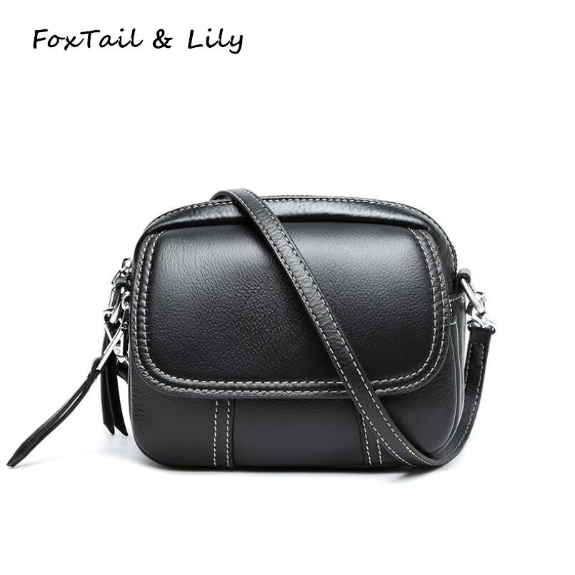 FoxTail Lily Popular Mini Crossbody Bags for Women Genuine Leather Small Shoulder Messenger Bag Fashion Cow