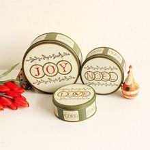 3pcs/set Round Metal Storage Box Joy And Love Printing Biscu