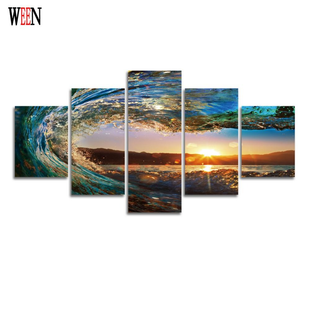 Hd wave canvas wall art modern 5 piece sea waves pictures for Home decor on highway 6