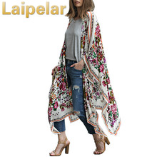 Fashion Women Floral Print Kimono Cardigan Summer Asymmetric Long Boho Top Blusas Plus Size Elegant Womens Blouses Tops Laipelar