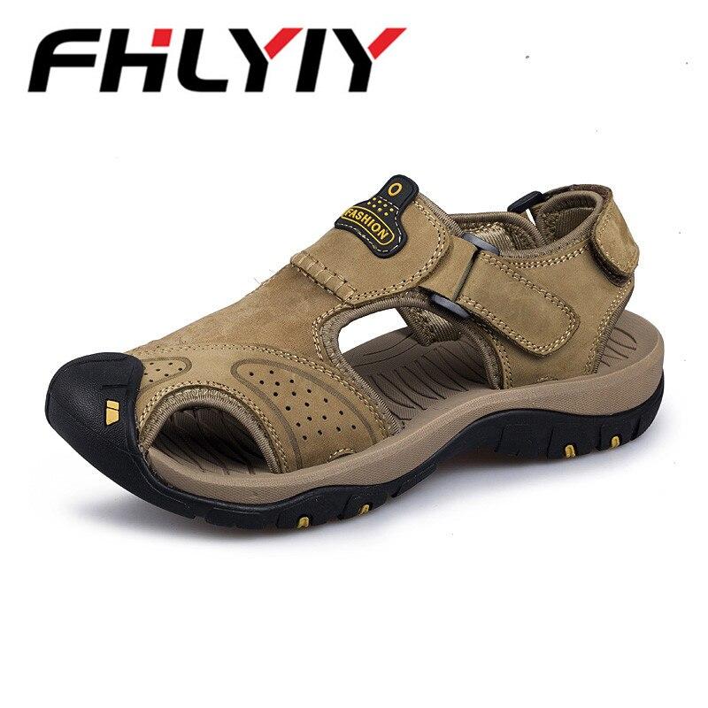 2018 Fashion Quality Genuine Leather Men Sandals Mesh Soft Summer Casual Shoes Men Beach Sandalias Men Shoes Zapatos Hombre