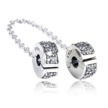 Фотография New Collection Good Quality CZ Paving 925 Sterling Silver Clip Safe Chain Fitting European Famous Silver Charm Bracelet