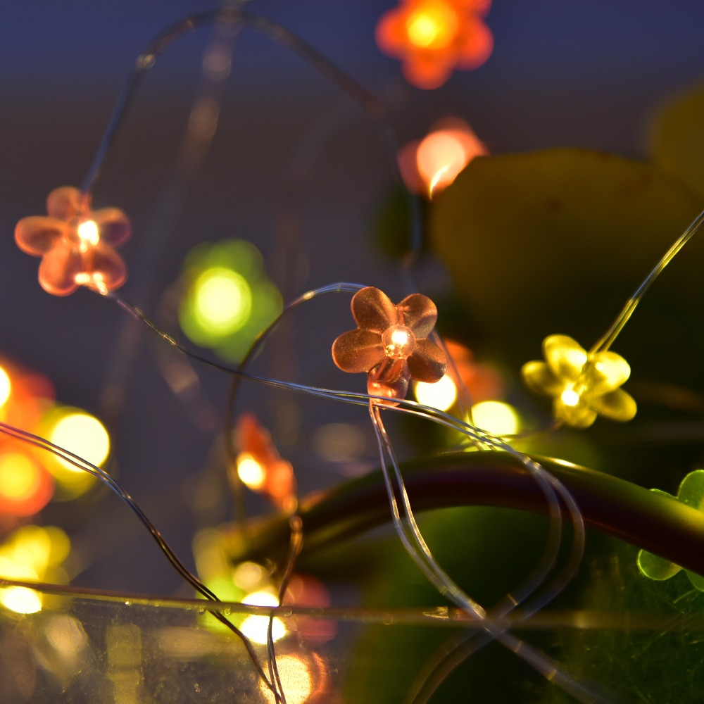 6M 40 Beads USB LED Copper Wire String Lights with Flower Pendants ...