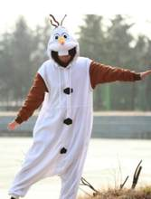 Fantasia branca para adulto olaf, pijama de neve, cosplay, macacão nl1601