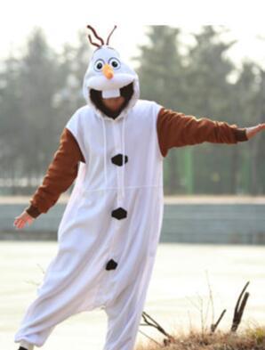 Anime Olaf snowman Costume Pajamas Cosplay White jumpsuit Adult Onesie Pyjamas Party Dress NL1601