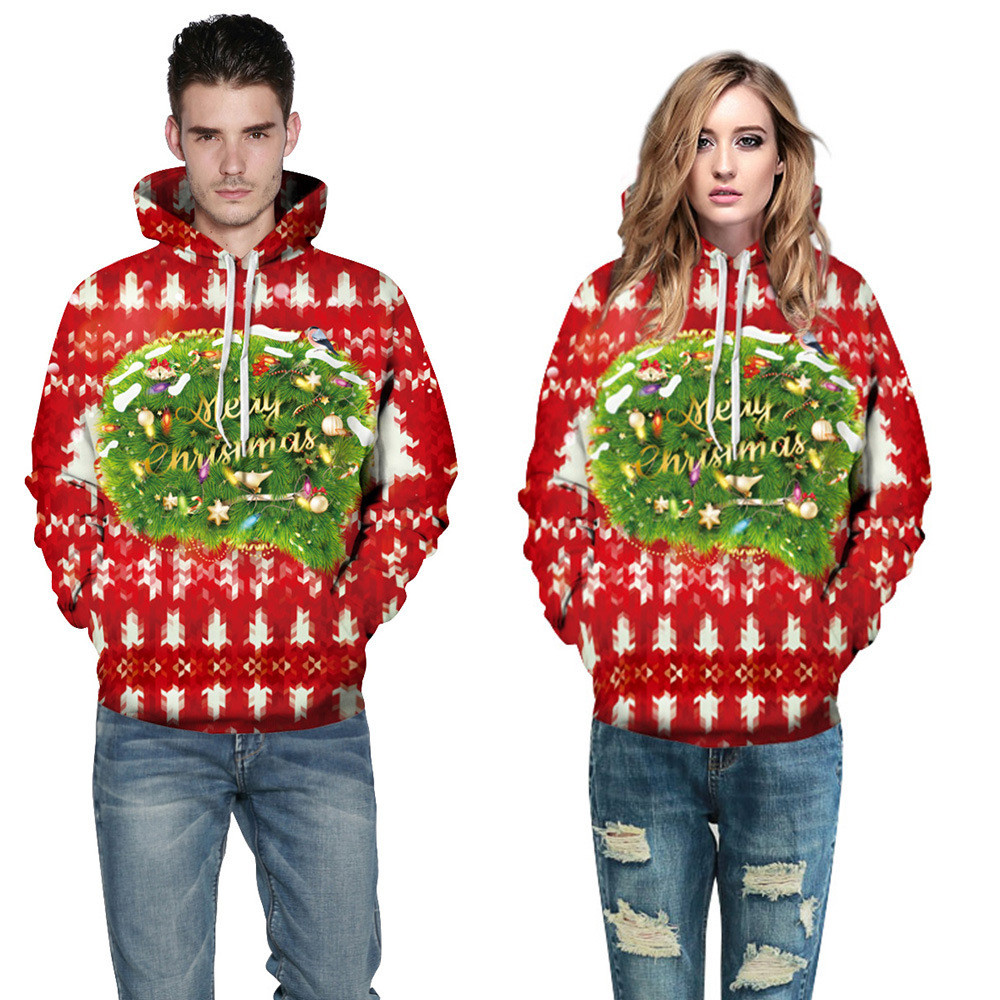 Universal Women Men Christmas Xmas 3D Red Printed Sweatshirt Pullover Hoodies Tops Polyester Merry Christmas