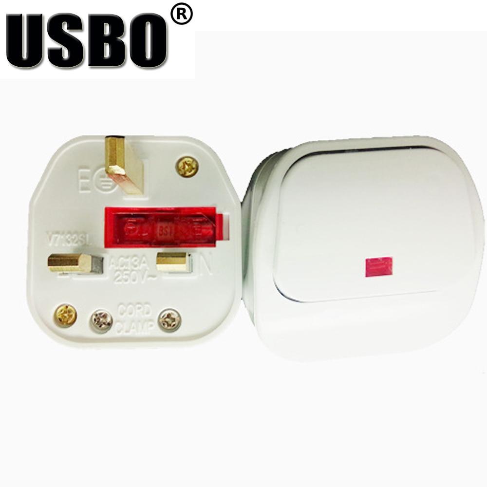 US $1.1 21% OFF|White 10A 250V removable Australia British AC power Wiring Uk Plug on