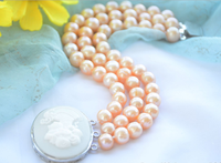 Wedding Woman Jewelry 3 Strands Pearl Bracelet 9 10mm Bright pink Real Natural Freshwater Pearl Bracelet Rose Clasp