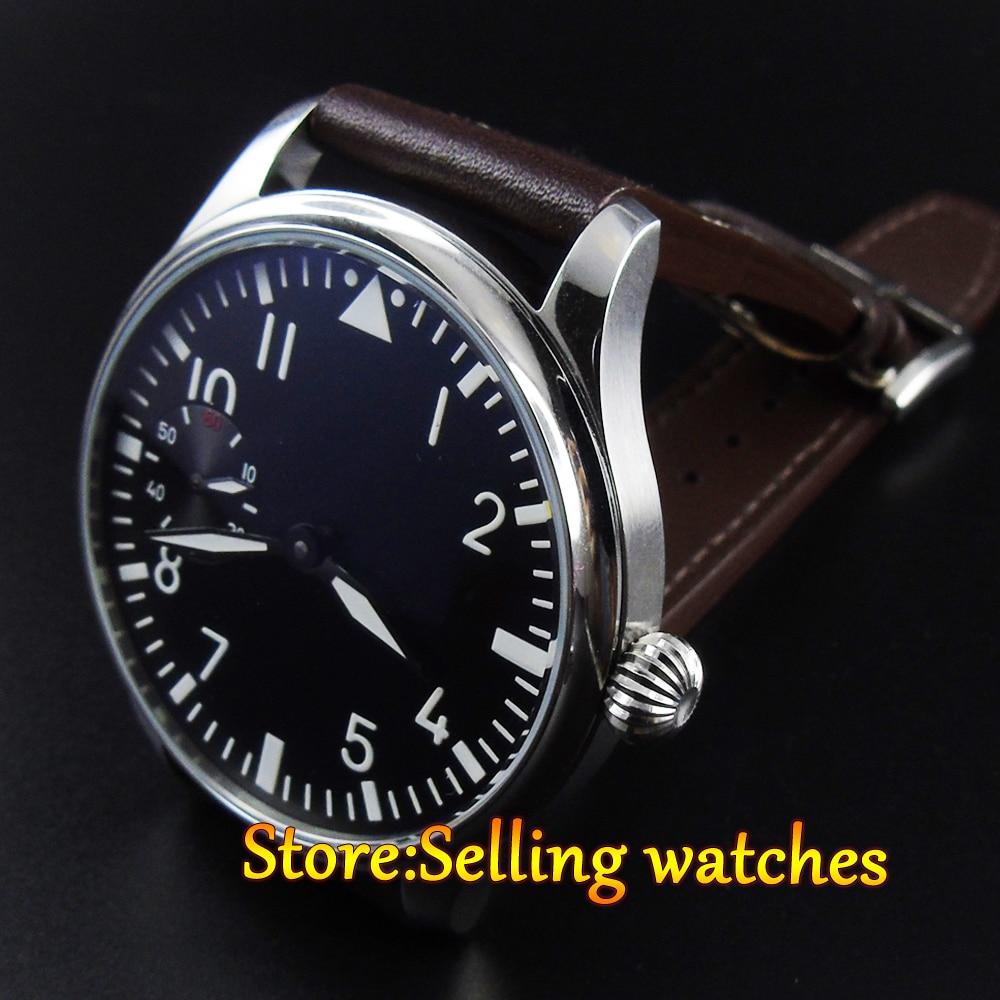 PARNIS 44mm hand winding sea gull Swan Neck movement Men's watch
