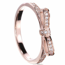 New Silver Plated Ring Fine Sparkling Golden Bow With Crystal Rings For Women Wedding Party Gift Fine Jewelry