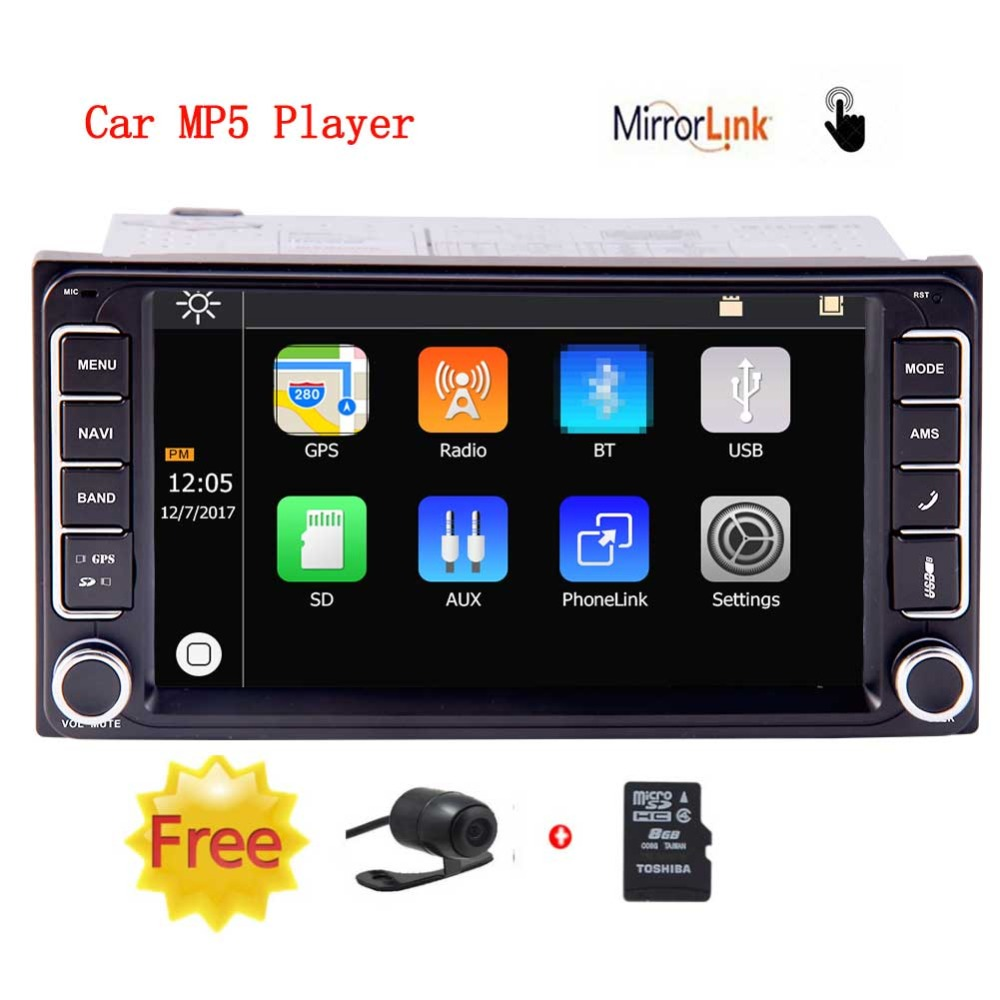 Car Radio Touch Screen 7 inch 2 Din Car Video with Wireless Rearview Camera MP5 Player Autoradio Bluetooth handsfree Mirrorlink adanex ad 12998