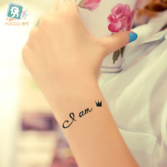 HC-39 Waterproof Fake Tattoo Stickers Women Sexy Chest Wrist Bracelets Flash Tattoo Lett ...