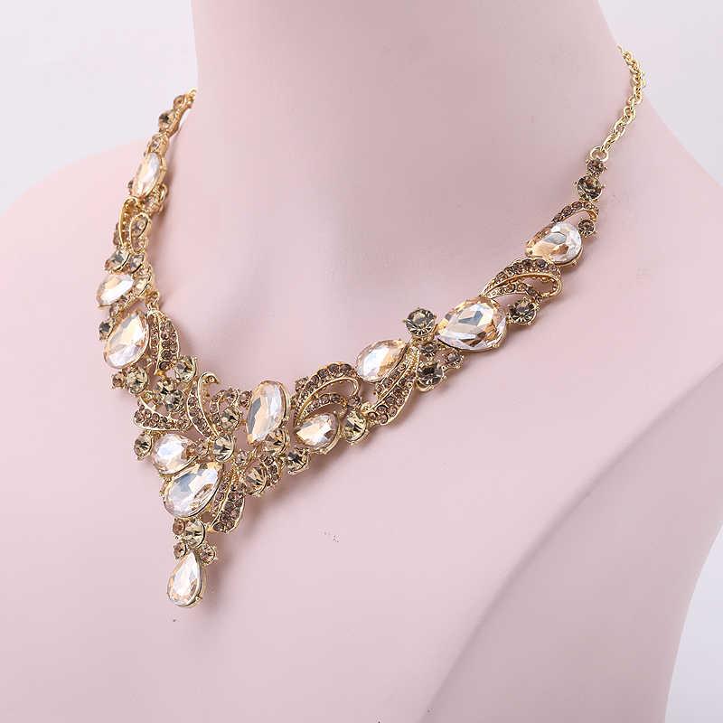 חדש נשים עלה זהב אפרסק צבע תכשיטי סטי ריינסטון זכוכית חומר כלה חתונת שרשרת ועגילים מתנת תכשיטים