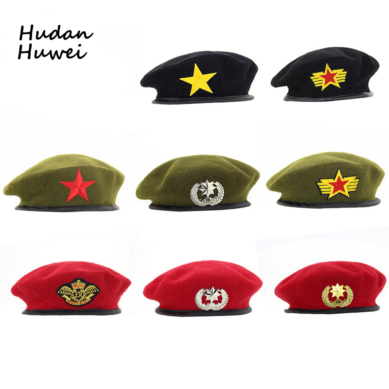 High Quality Wool Berets fashion Army cap Star Emblem Sailor Dance Performance Hat Trilby chapeau for men women unisex GH-400(China)