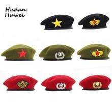 Boinas de Lã de alta Qualidade tampa da moda Do Exército Emblema Estrela  Espetáculo de Dança Chapéu de Feltro chapeau Marinheiro. 59605083b03