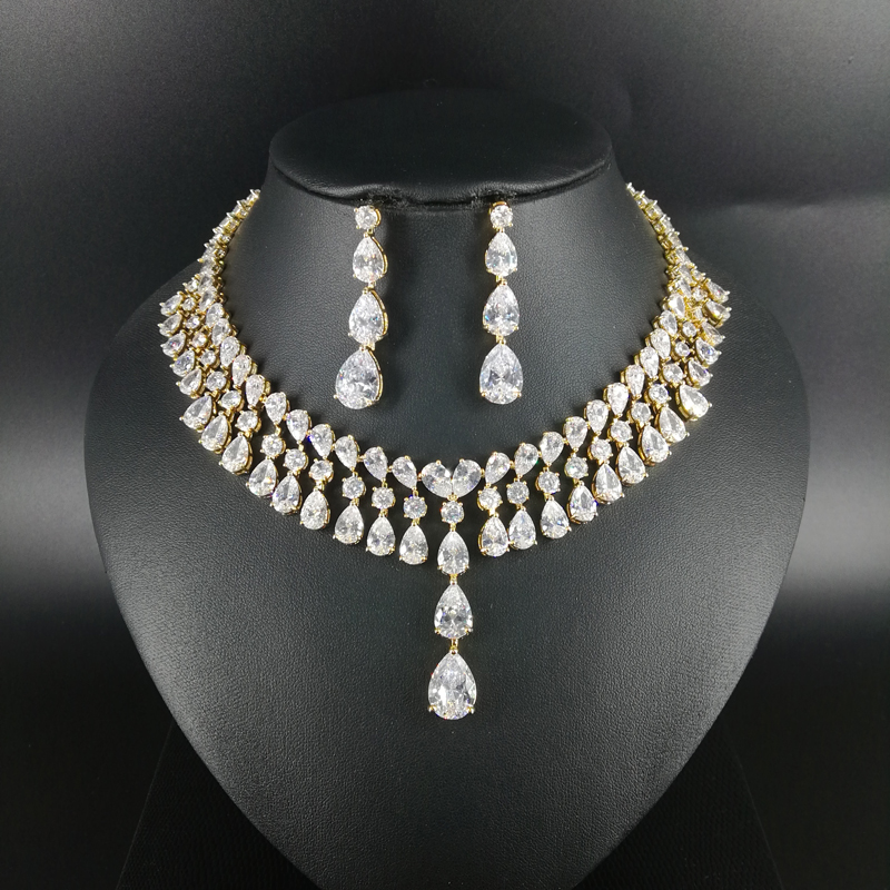 цена на 2018 new fashion retro luxury crystal little water drop zircon golden necklace earring set,wedding bride banquet dinner jewelry