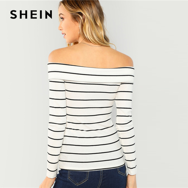 SHEIN White Crisscross Striped Bardot Tee Casual Elegant Off Shoulder Slim Fit T-shirt Women Autumn Minimalist Long Sleeve Tops 2