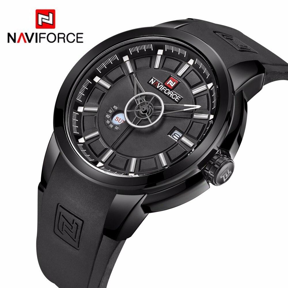 2018 New NAVIFORCE Luxury Brand Watch Men Sport Military Quartz Watches Rubber Strap Waterproof Men's Wrist watch Army Clock-in Quartz Watches from Watches    1