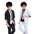 Baby clothes 2 pieces Boys Blazer Jacket set Fashion Stripe Tuxedo suits Kids Casual Clothing sets Autumn Outfits