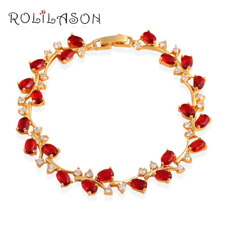 So Beautiful Royal Garnet Design Gold Tone Red Zirconia Bracelets Health Nickel & Lead Free Fashion Jewelry TB1010