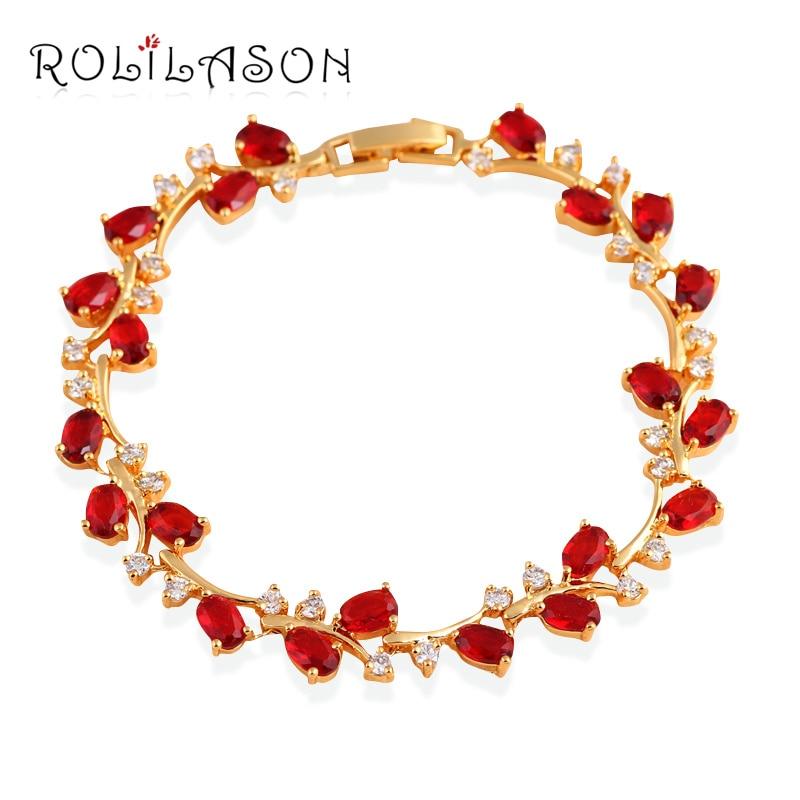 Так красиві королівські гранатові золоті тони з червоним цирконієвим браслетом Здоров'я нікель та свинцю Безкоштовні ювелірні вироби TB1010
