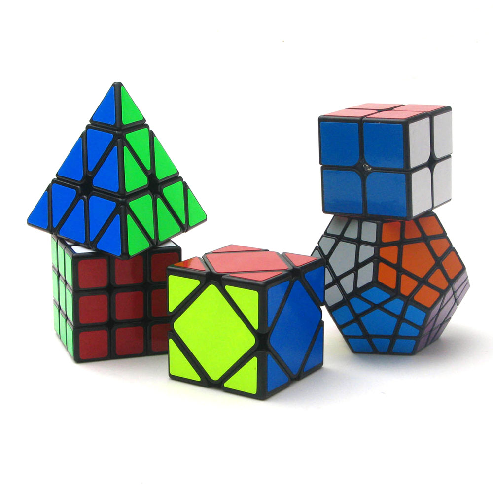 5Pcs ZCUBE 2x2x2 3x3x3 Black Pyramid Magic Cubes Puzzle Speed Revenge Cube Educational Toys Gifts for Kids Children цена 2017