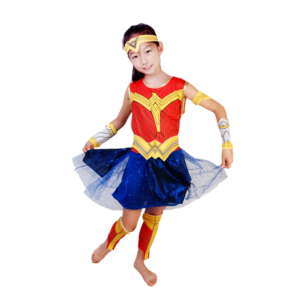 Kid Diana Prince Cos Outfit Wonder Woman Cosplay Dresses Girl Princess 6pcs Set Halloween Cosplay Costume Child Carnival Set