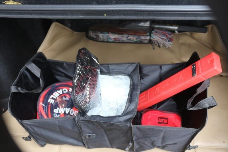 Caja plegable port/átil para autom/óvil Caja de almacenamiento del maletero del coche 50L Tela no tejida Incubadora para autos Bolso para el acabado de escombros del autom/óvil Estibado Tidying-Negro