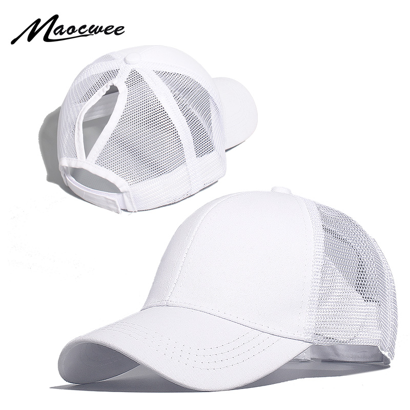 MAOCWEE Ponytail Baseball Cap Women Mesh Baseball Hats Summer Beach Cap Solid Color Snapback Girl Sun Hats With Hole 2019