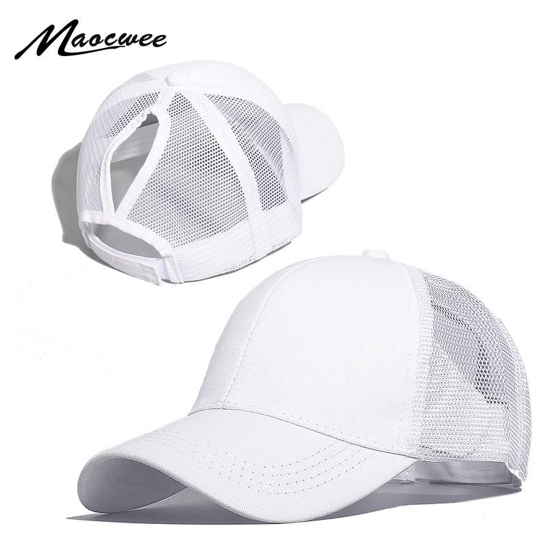MAOCWEE Ponytail Baseball Cap Women Mesh Baseball Hats Summer Beach Cap Solid Color Snapback Girl Sun Hats With Hole 2019