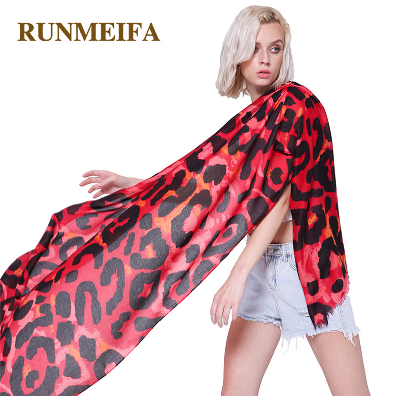 [RUNMEIFA] New Luxury Summer Fashion Thin Cotton   Scarf   Women/Lady Capes Red Leopard Print Casual Soft Female Shawls and   Wraps
