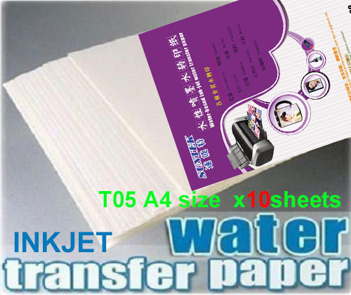 A4 inkjet white back water transfer printing paper blank for diy