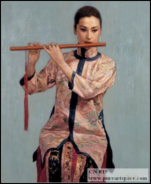 Hand painted chinese woman portrait Decorative Canvas Oil Painting Best For Powder Room Decor And Home