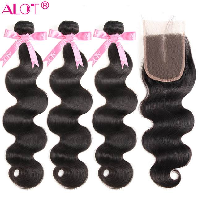 Body Wave Bundles With Closure Alot Brazilian Hair Weave Bundles With Closure Human Hair 3 Bundles With Closure Non Remy Hair