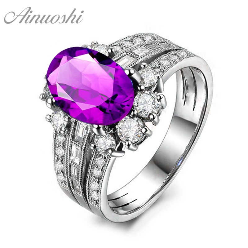 AINUOSHI Natural Amethyst Ring Pure 925 Sterling Silver Gems Ring 2ct Oval Cut 3 Rows Drills Ring Engagement Jewelry Women RingAINUOSHI Natural Amethyst Ring Pure 925 Sterling Silver Gems Ring 2ct Oval Cut 3 Rows Drills Ring Engagement Jewelry Women Ring