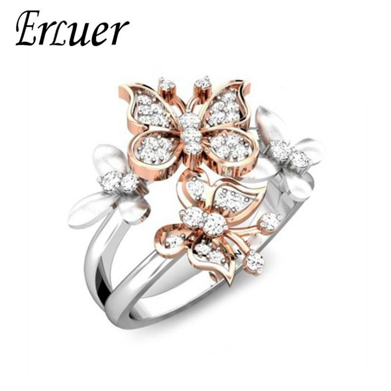 ERLUER Rings Women Cz-Jewelry Crystal Finger Engagement Silver-Plated Wedding for Butterfly