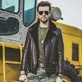 ARGY Марка 100% Натуральной Кожи Куртка Мужчины Меховой Опушкой Шерсть Лайнер Куртки Зимние Мужские Кожаные Уличной blousen moto homme 6531