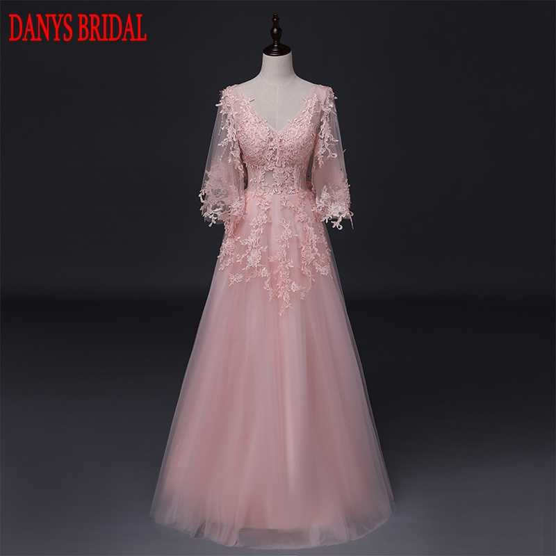 d8c49031a5 Pink Long Sleeve Lace Evening Dresses Long Party Beaded Women Unique ...