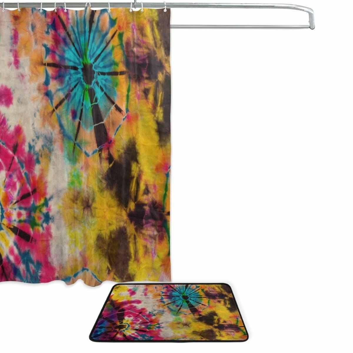 Cortina de ducha de tinte de corbata y juego de esteras, cortina de baño de tela étnica Tribal a prueba de agua