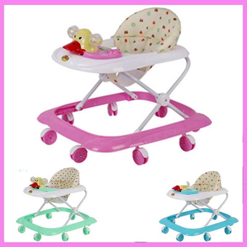 Baby Walker with Wheels Anti Rollover Toddler Trolley Multi-functional Music Foldable Baby Activity Walker Car Walker Assistant